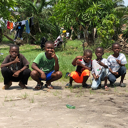 Liberian children in soccer field